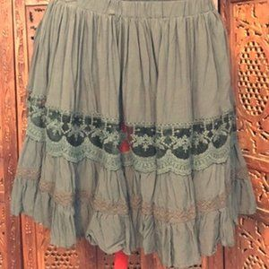 free people-blk lace ruffle embroid mini skirt-L
